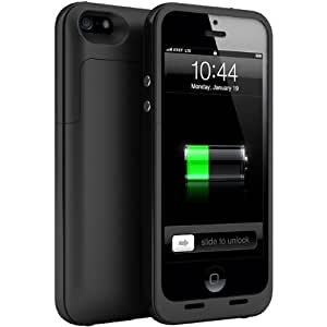 Maxboost Protak Air External Protective iPhone 5 Battery Case - Matte Black , Fits All Versions of iPhone 5 - Lightning Connector Output, MicroUSB Input