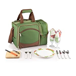 Picnic Time Malibu Insulated Cooler Picnic Tote, Service for 2, Pine Green