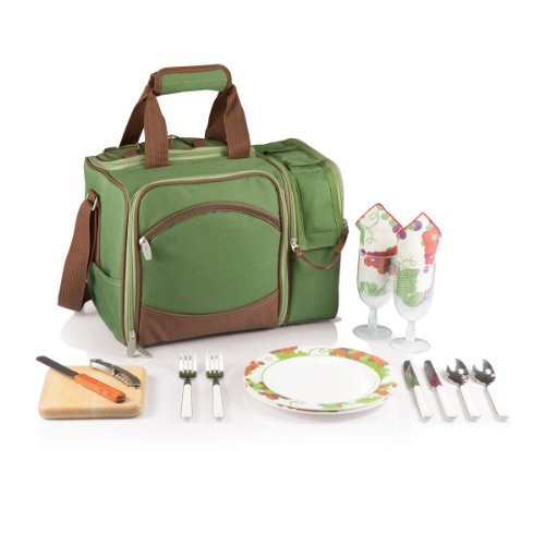 Picnic Time Malibu Insulated Cooler Picnic Tote, Service For 2, Pine Green front-604911