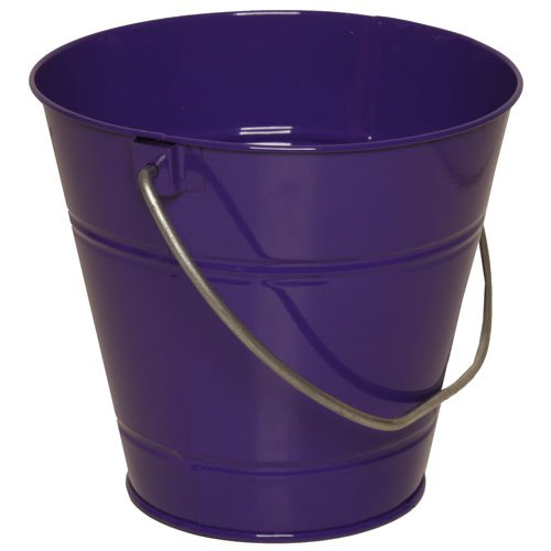 Solid Purple Large Metal Pail Bucket - Sold Individually front-22205