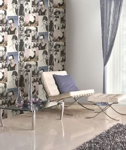 Statement Hepburn Wallpaper - Smokey Pink and Blu from New A-Brend