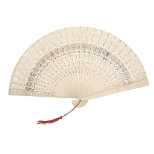 1 X Folding Wooden Carved Sunflower Print Hand Fan Fragrant