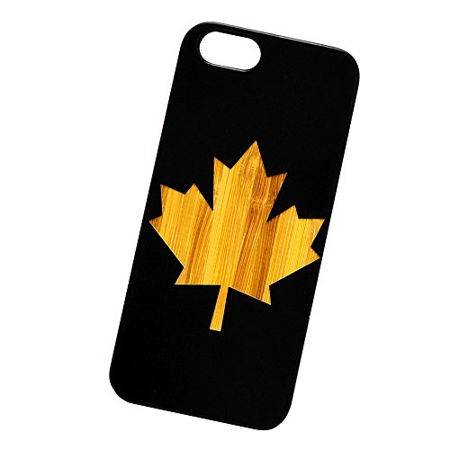 Canada Leaf Engraved Black Bamboo Cover for iPhone and Samsung phones Wood - iPhone 7 Plus (Canada Iphone 4 Case compare prices)