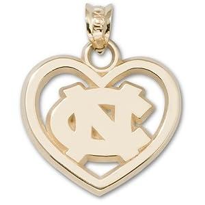North Carolina Tar Heels 5 8 NC Pierced Heart Pendant - 14KT Gold Jewelry by Logo Art
