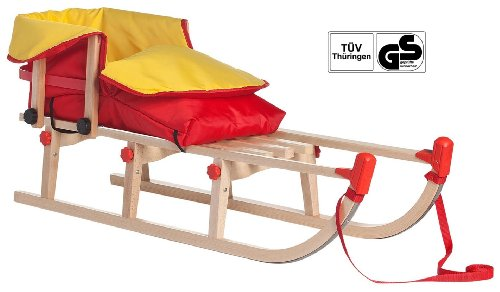Impag® Klappschlitten Holzschlitten Rodelschlitten mit Zuggurt Lehne und rot gelben Fußsack Yaro 115 cm lang