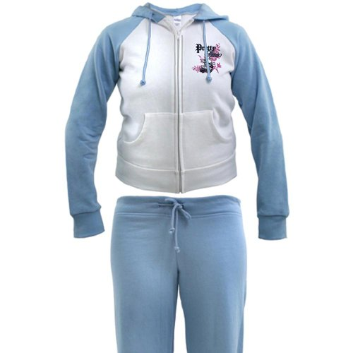 Artsmith, Inc. Women's Tracksuit Pretty Poison Forever Skull and Crossbones - Baby Blue/White, Medium
