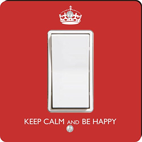 Rikki Knight Keep Calm be Happy Single Rocker Light Switch Plate, Red coupons 2016