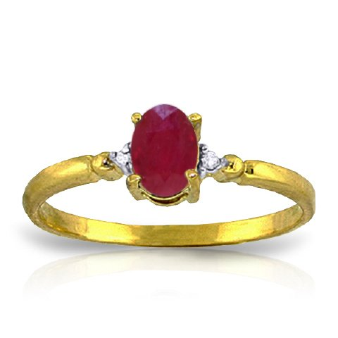 14k Yellow Gold Ring with Genuine Diamonds and Natural Oval-shaped Ruby - Size 8.5