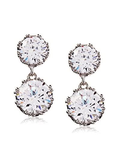 CZ by Kenneth Jay Lane Double Round CZ Crown Set Classic Post Earrings