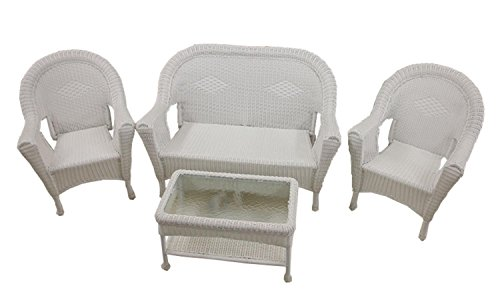4-Piece White Resin Wicker Patio Furniture Set- 2 Chairs, Loveseat & Table (White Wicker Resin Chair compare prices)