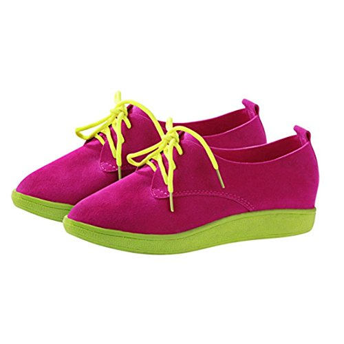 jeansian Moda Donna Scamosciato Casuale Scarpe Basse da Ginnastica Sneakers Loafers Shoes WSB081 Pink 37