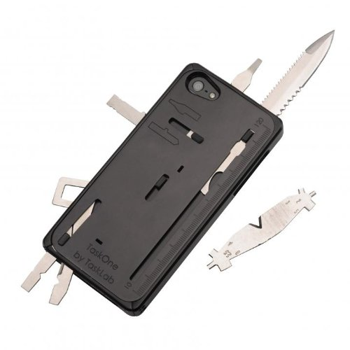 """iPhone5 iPhone5s用 TaskOne(タスクワン) 多機能 工具(2.5""""のナイフ 1.8""""の鋸切り歯 大小のスクリュードライバー フィリップススクリュードライバー レンチ付ペンチ ワイヤーカッター スパナ ワイヤーの被膜はがし 缶あけ ものさし サイドスタンド等の全22種類内蔵)マルチ工具 (ブラック)"""