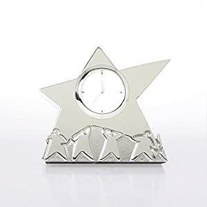 Silver Themed Desk Clock - Team Star