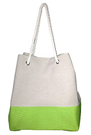 """Oversize 2 Tone Canvas Beach Tote Bag - W23"""" D8"""" H16"""" (Lime)"""