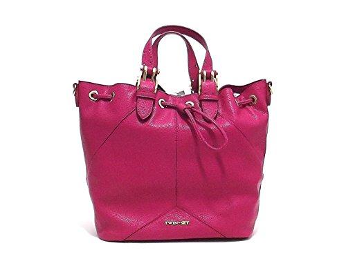 Twin Set borsa donna, linea Secchiello Cuore AS67QB, borsa a spalla in ecopelle, colore fuxia