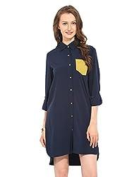 Navy Blue Polyester Shirt Dress Medium
