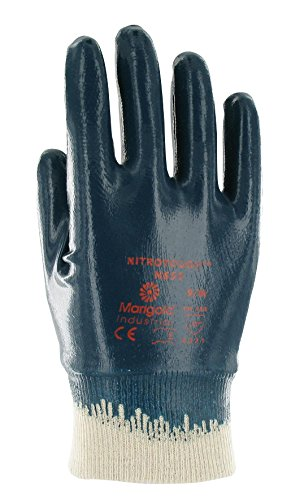 Ansell Nitrotough N650-Guanti oléofuges, protezione meccanico, colore: blu (Confezione da 12 paia), 10, Blu, 12