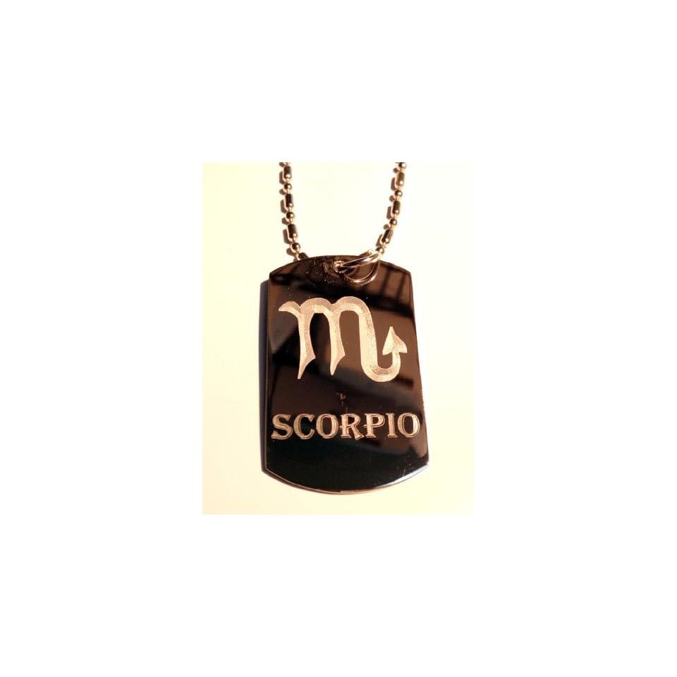 Zodiac Signs Sign Scorpio Scorpion Military Dog Tag Chain: Celtic Zodiac Signs Sign Scorpio Symbol Military Dog Tag