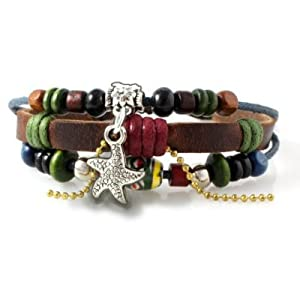 Starfish Beaded Leather Zen Bracelet, Fits 6 to 9 Inches for Men, Women, Teens, Boys and Girls in Gift Box