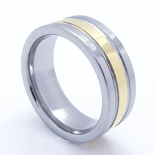 Tungsten Carbide Men's Ladies Unisex Ring Wedding Band 8mm (5/16 Inch) Two Tone Gold Finish Polished Shiny Grooved Comfort Fit (Available in Sizes 8 to 12) Size 11
