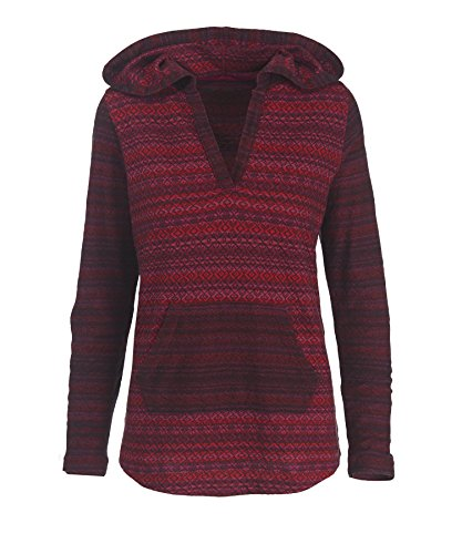 Woolrich Women's Mile Run II Striped Hoodie, OLD RED (Red), Size XL