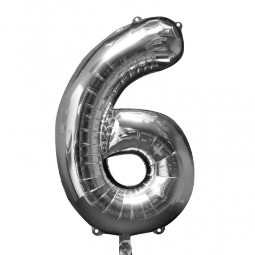 Mayflower Distributing 62918 34 IN. 6 SILVER NUMBER SHAPE BALLOON -PKG