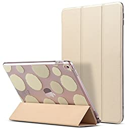 iPad Pro 9.7 Case, ULAK Ultra Slim Fit Bumper Smart Case Stand for Apple iPad Pro 9.7 Inch 2016 [PU Leather] [Colorful Clear Back Cover] [Lightweight Design] with Auto Sleep/Wake (Champagne Gold)