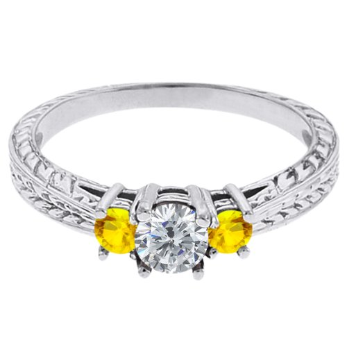 0.56 Ct Round G/H Diamond Yellow Sapphire 18K White Gold 3-Stone Ring