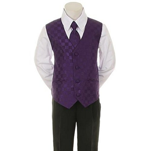 Kids Dream Purple Checkered Vest Formal Special Occasion Boys Suit 24M front-1002181