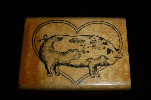 Pig And Heart Rubber Stamp