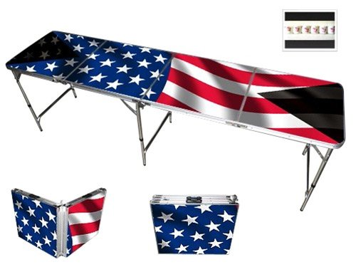 Read About American Flag Beer Pong Table 8ft - Premium HD Design - Bottle Opener, Ball Rack, & 6 Pon...