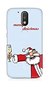 Amez designer printed 3d premium high quality back case cover for Motorola Moto G4 Plus (Drunk Santa)
