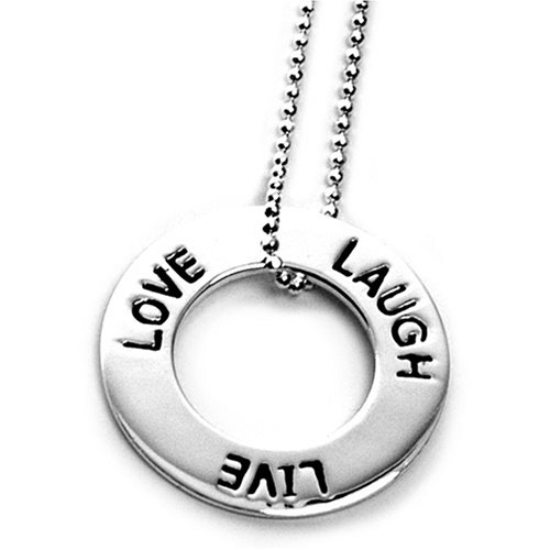 Sterling Silver Live Laugh Love Open Circle Inspirational Sentiment Pendant on 16in Shotbead Chain