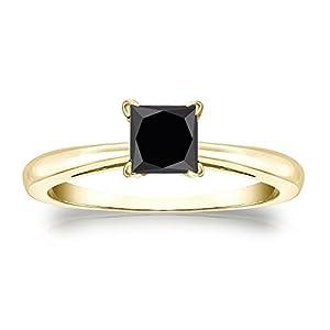 18k Yellow Gold Princess-cut Black Diamond Solitaire Ring (1 cttw, Black color), Size 9