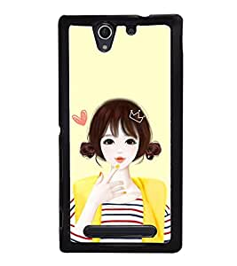 Cute Anime Girl 2D Hard Polycarbonate Designer Back Case Cover for Sony Xperia C4 Dual :: Sony Xperia C4 Dual E5333 E5343 E5363