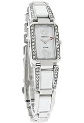 Seiko SUP185 Womens Tressia Solar White Ceramic and Stainless Steel Bracelet Swarovski Elements Heart Logo Watch
