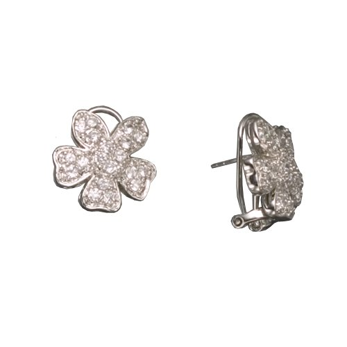 Vevina's 925 Sterling Silver Stud Earrings Rhodium PLated CZ Diamonds Flower Design - Incl. ClassicDiamondHouse Free Gift Box & Cleaning Cloth