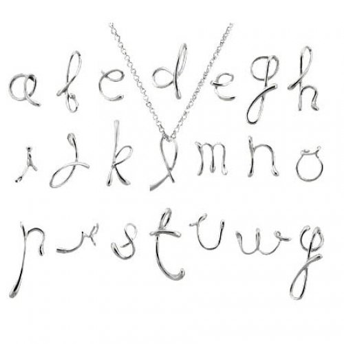 Bling Jewelry NY Fifth Ave Designer Inspired Sterling Silver Alphabet Letter K Pendant with 18