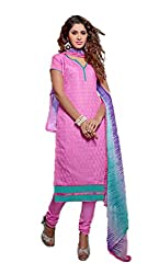 Adaa Women's Cotton Unstitched Dress Material (AM-MK-10_Pink_Free Size)