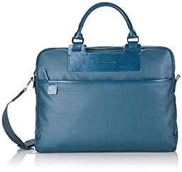 Piquadro Briefcase with Three Compartments and iPad Mini Organizer Panel, RAF Blue, One Size