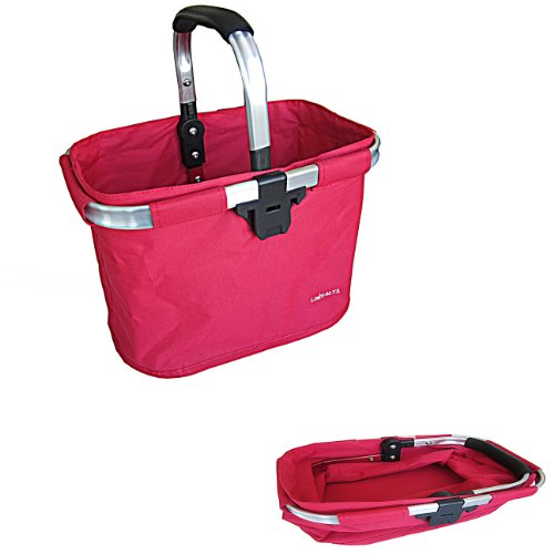 bicycle basket Red aluminum and textile with Bracket - Dual Front Quick Release Basket, Removable, padded handle, Collapsible for storage, by Biria