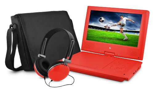 Ematic Epd909Rd 9-Inch Portable Dvd Player With Matching Headphones And Bag (Red)