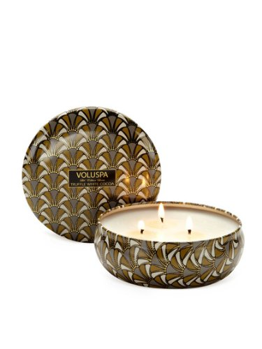 Voluspa Decorative 3 Wick Candle inTin/ Truffle White Cocoa, 12oz Tin
