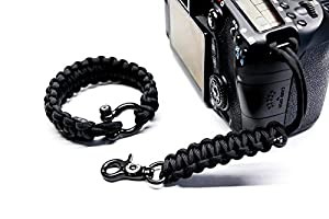 1x-Clip Hand Made in USA , Black 6-6.5 Upgraded Version Includes 1x-Quick Release Paracord Bracelet Camera Strap w//Black Hardware by : Osiris and Co X-Small