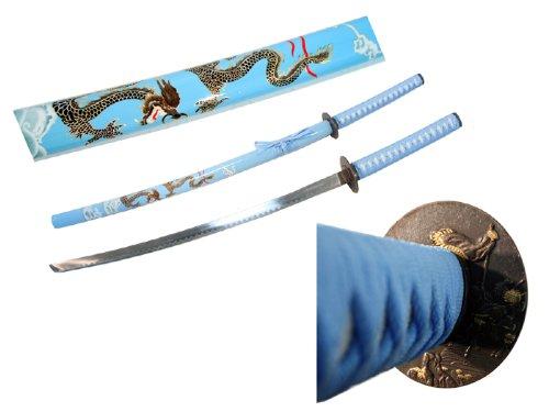 """40.5"""" Sky Blue Collectible Dragon Katana Samurai Sword Ninja"""