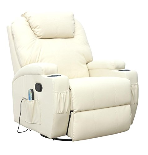 CINEMO 9 in 1 Leather Recliner Chair Rocking Adjustable Headrest Massage Swivel Heated Gaming Nursing Cinema (Cream)