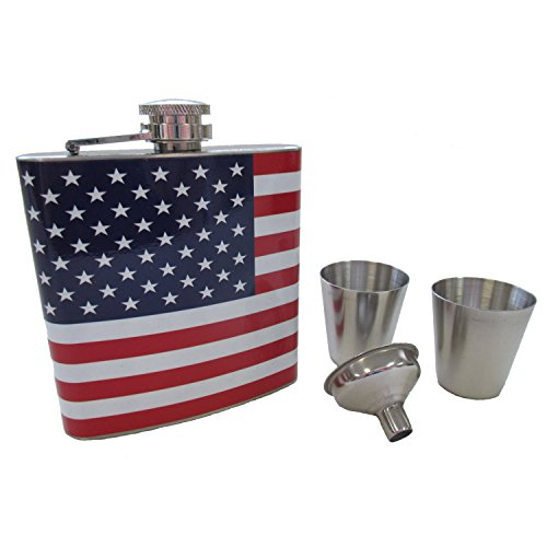 Decorative American Flag 6 oz. Stainless Steel Metal Skinny Hip Pocket Flask for Men or Women - Novelty Gift Set includes Funnel and Two Shot Glasses