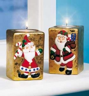 Christmas Candle Holder Set of 2 Ceramic T-light Candle Holders