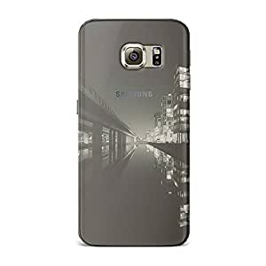Samsung S6 Edge [Transparent Hard Plastic Cover] Printed Design - Dark City View Beside Lake Landscape Case