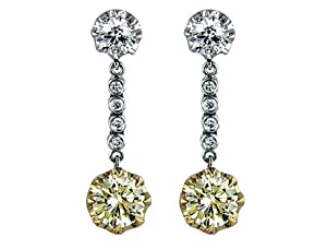 4.88 Ct Round Cut Diamond Dangle Earrings in 18k Two Tone Gold